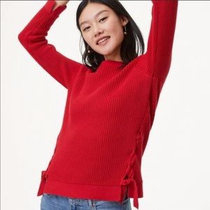 Loft red cable knit sweater with lace up sides S